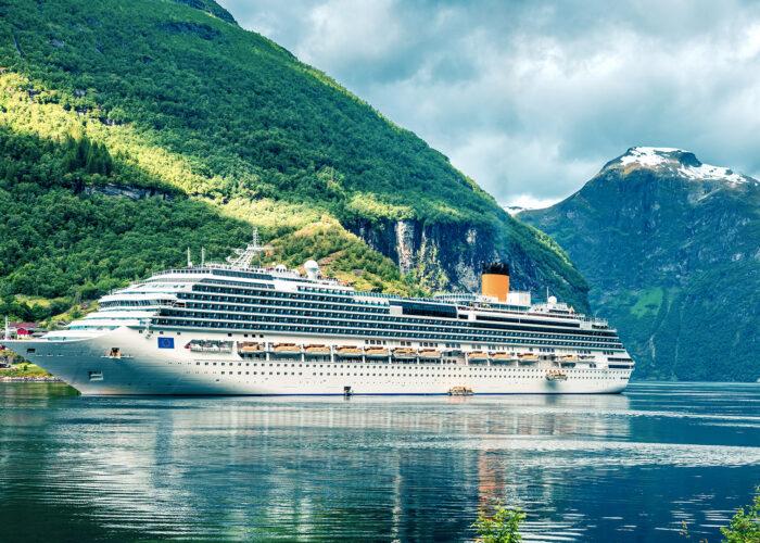 cruise ship in Geiranger port, western Norway