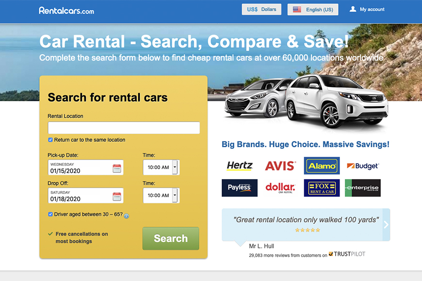 rentalcars.com screenshot.