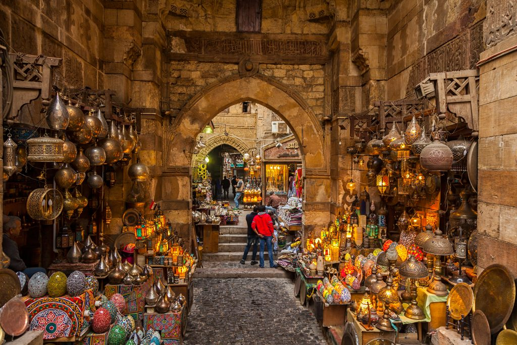 Shoppers browsing at Khan El Khalili market in Cairo, Egypt