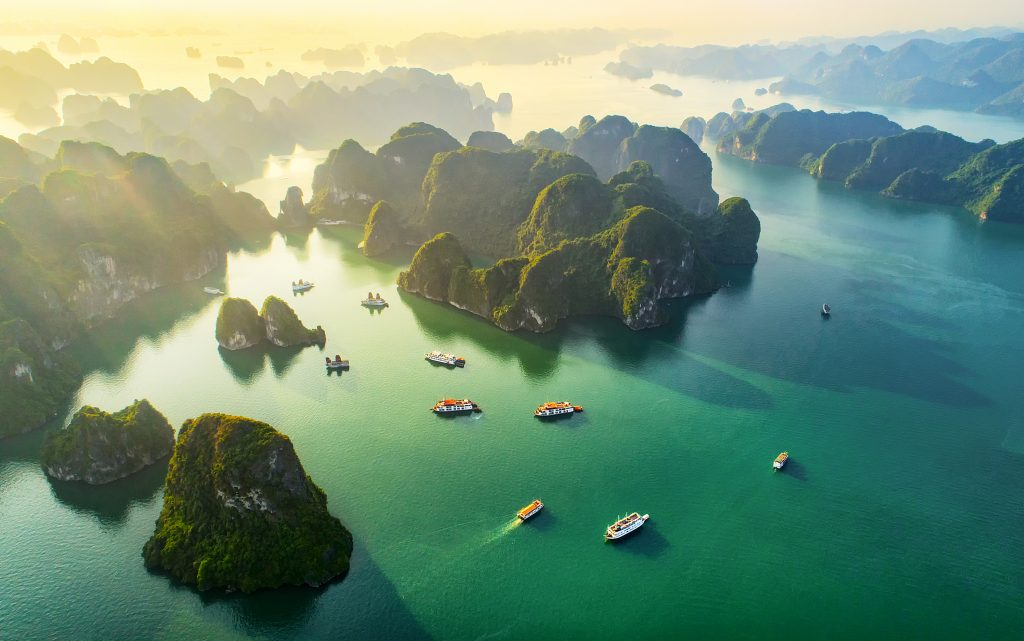 aerial view of halong bay, vietnam