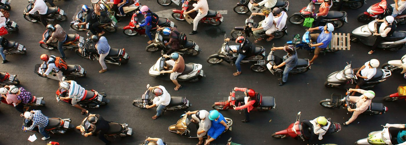 scooters in Saigon, seen from above