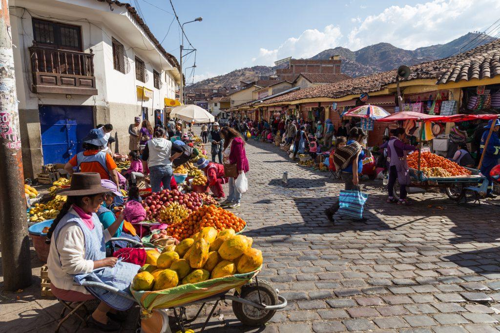 Street market in cusco, peru
