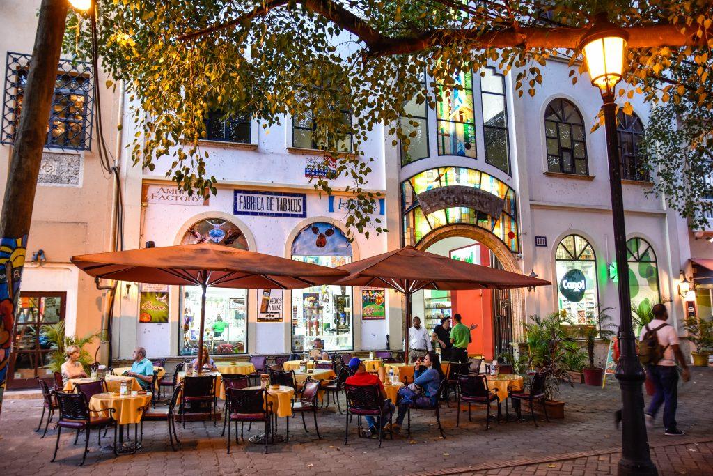 cafe street scene in santo domingo, dominican republic
