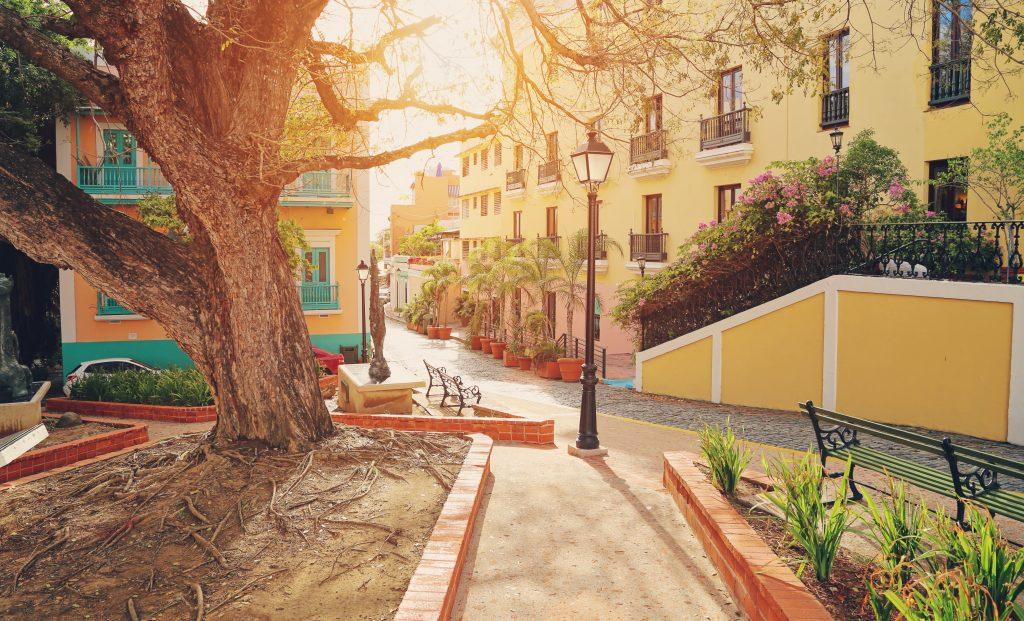 sunset on a street in san juan, puerto rico