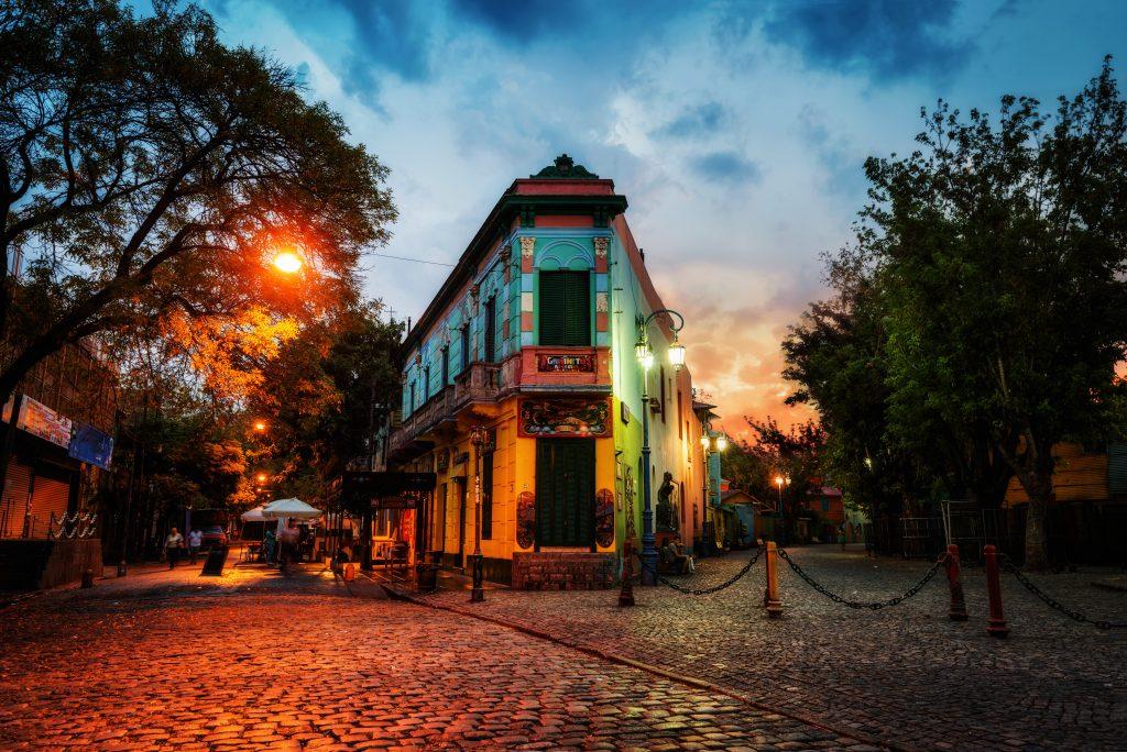 sunset in la boca, buenos aires, argentina