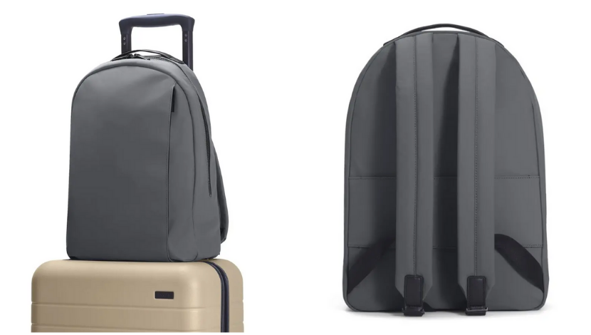 backpack on top of luggage