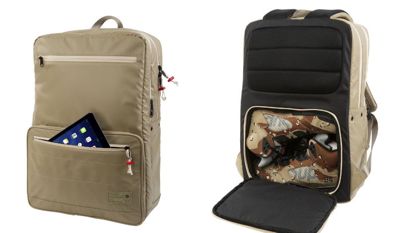 backpack with pair of shoes and computer slot