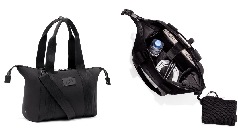 personal item black bag exterior and interior view
