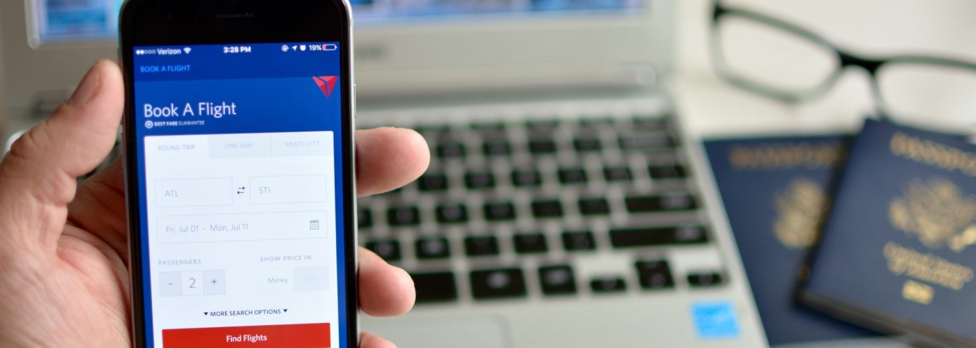 booking Delta flight on mobile app for frequent flyer program miles