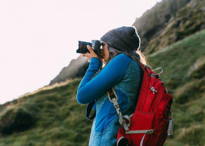 travel photographer on mountain