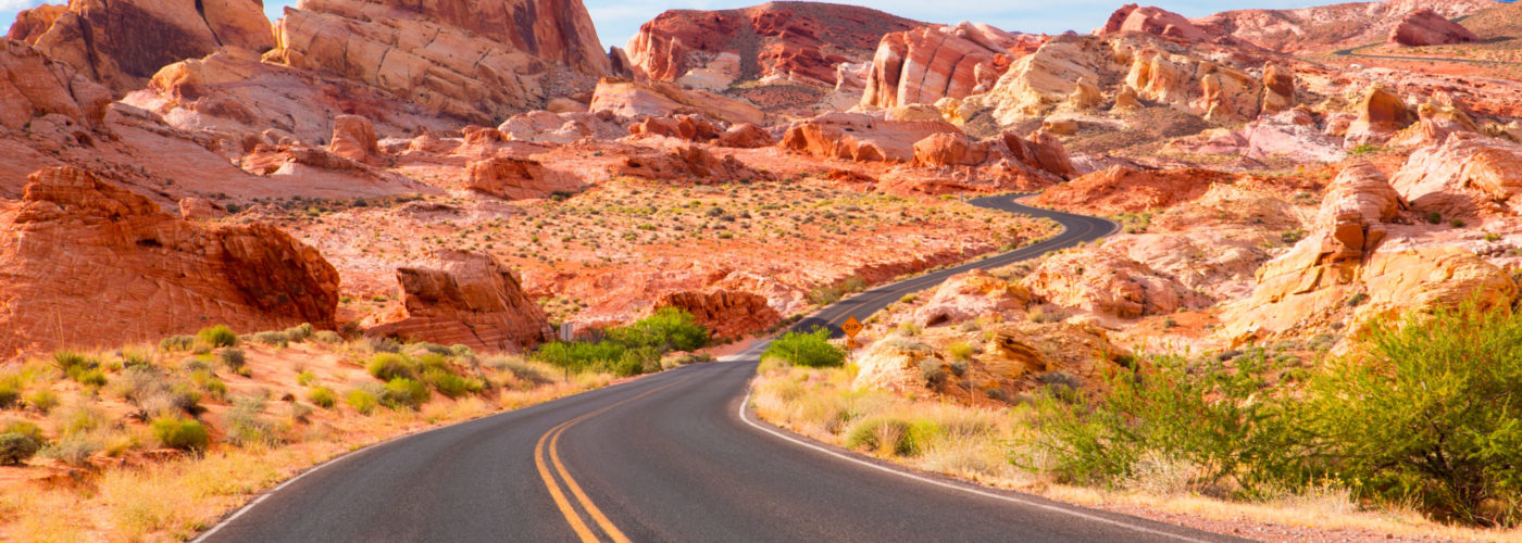 Road running through desert