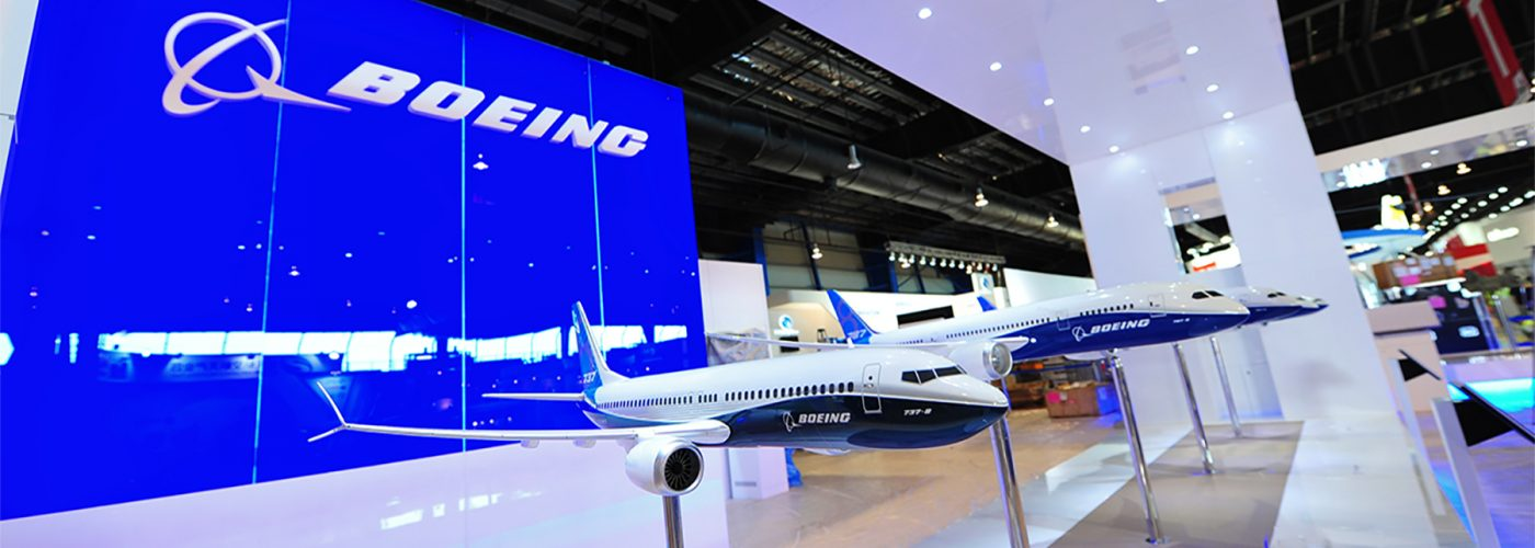 Boeing headquarters display of Boeing 737 plane model