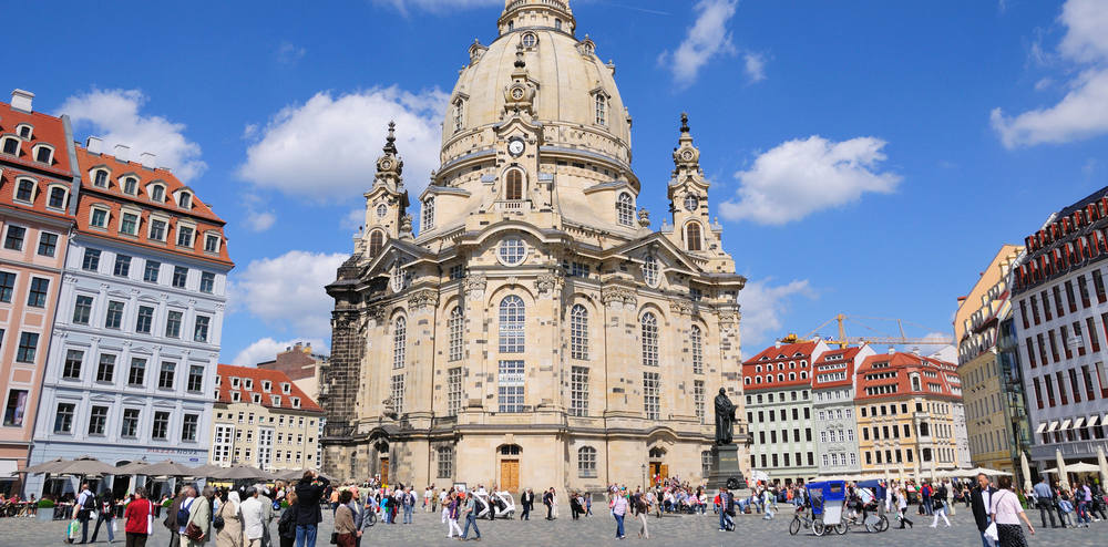 a close-up view of the church at mid-day in dresden