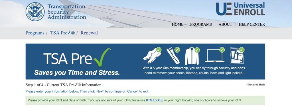 TSA precheck homepage