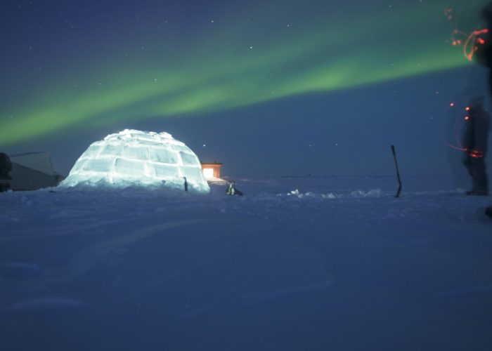 igloo and northern lights