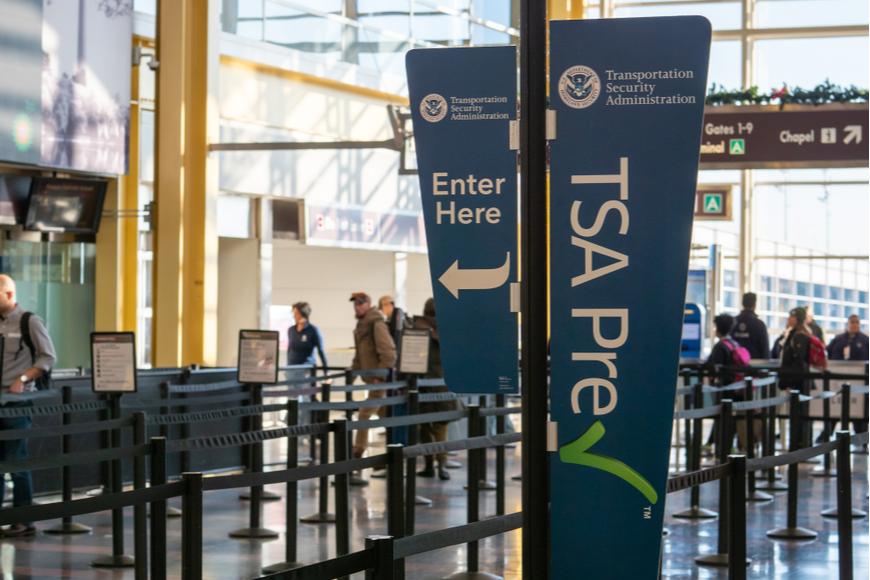 TSA precheck line at Reagan airport.