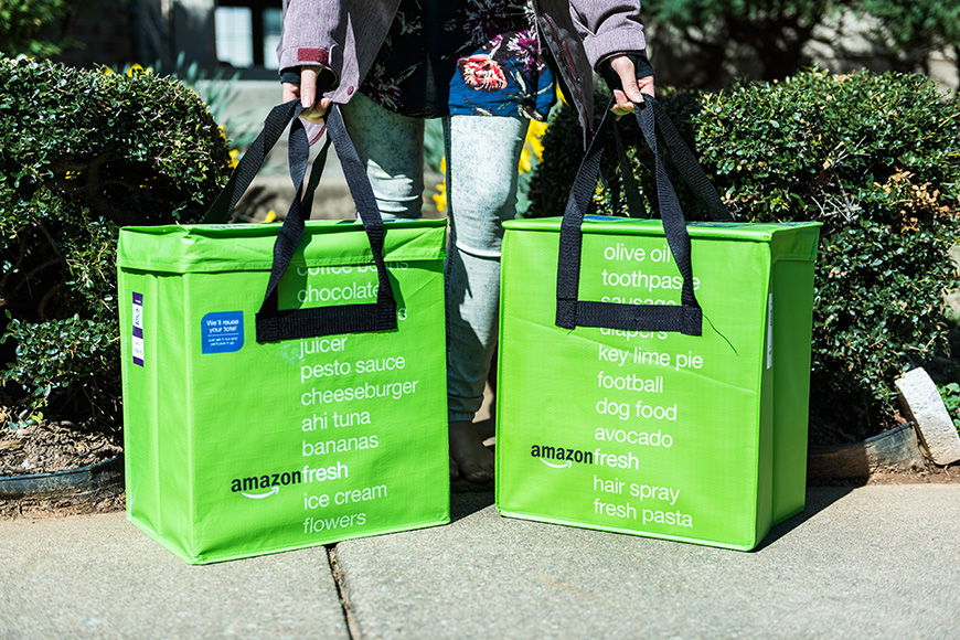 Amazon fresh insulated grocery delivery bags on front porch