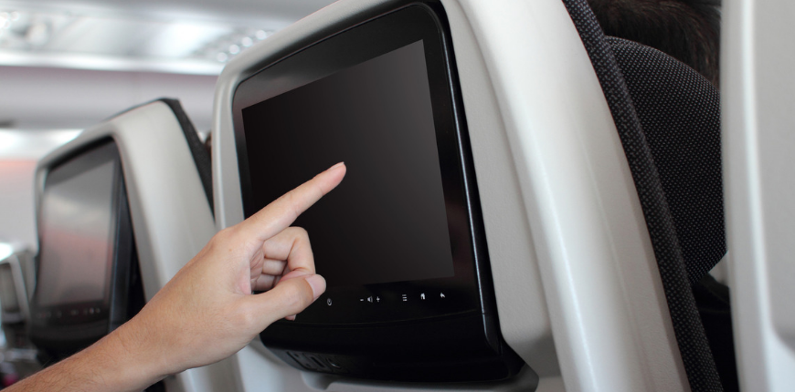 finger touchscreen airplane seat back