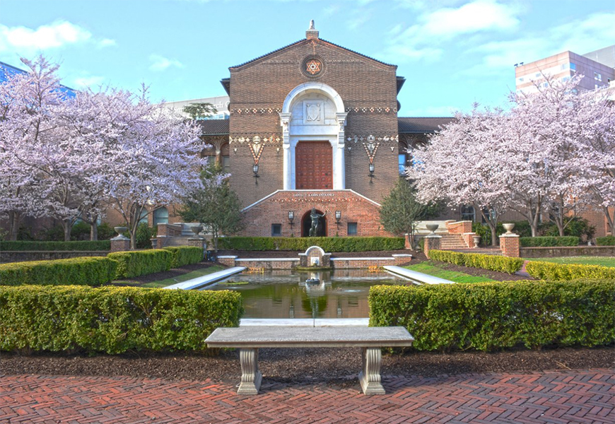 penn museum philadelphia with spring flowering trees
