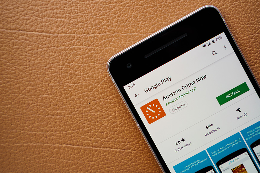 Amazon prime now app on smartphone screen close-up
