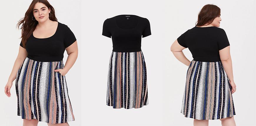 torrid black stripe knit to woven skater dress.