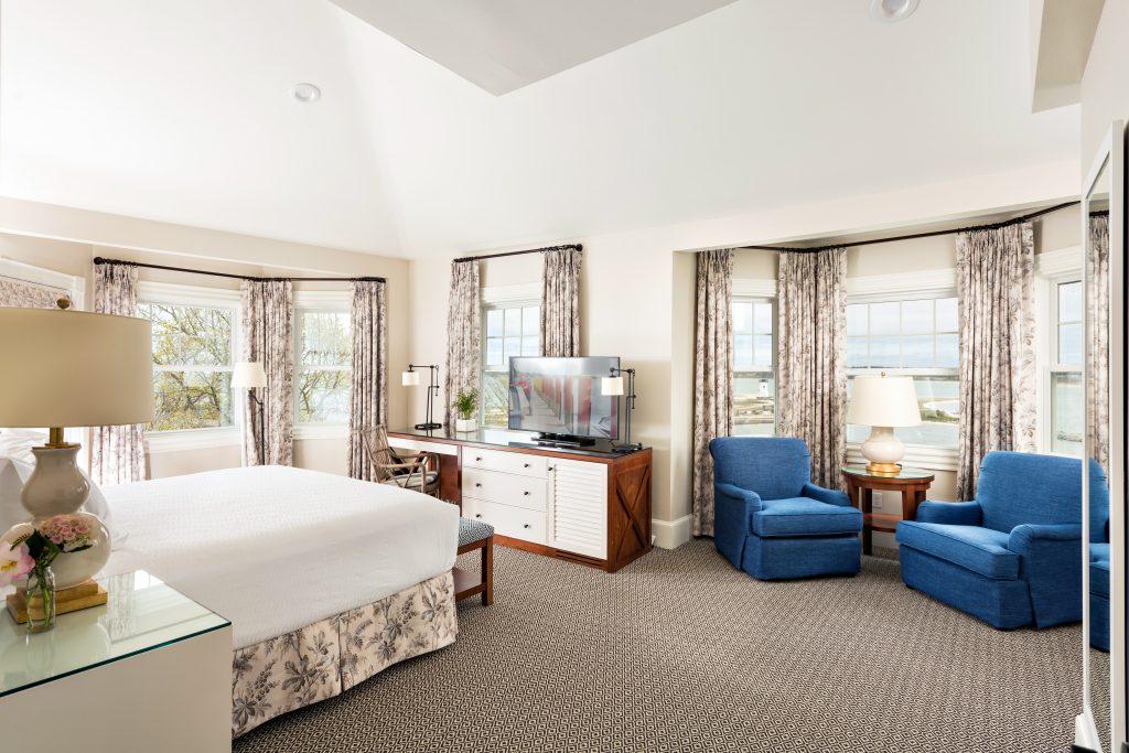 Harbor view hotel room.