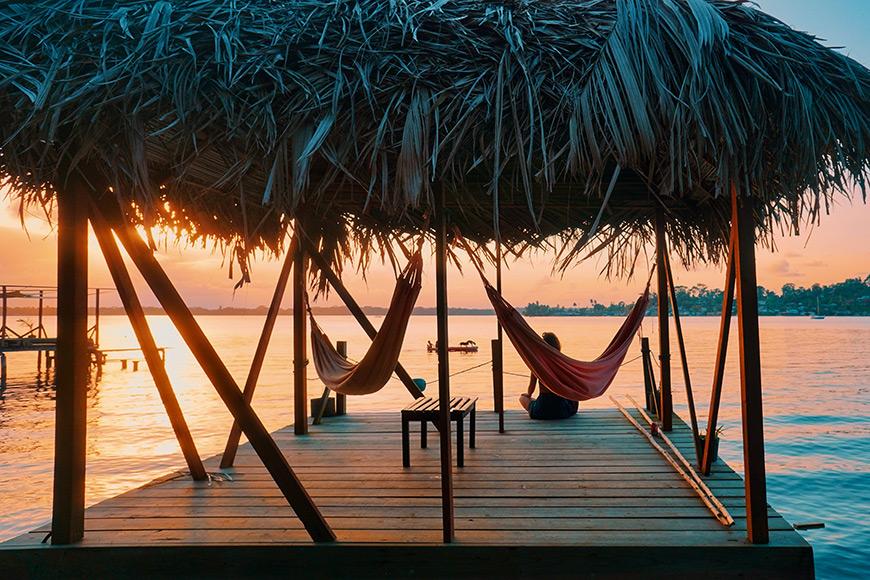 hammocks on a dock in isla bastimentos panama