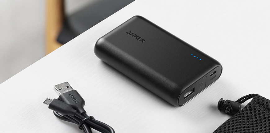 Anker powercore 10000, one of the smallest and lightest 10000mah external batteries,