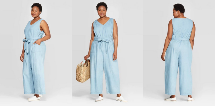 ava and viv chambray sleeveless jumpsuit.