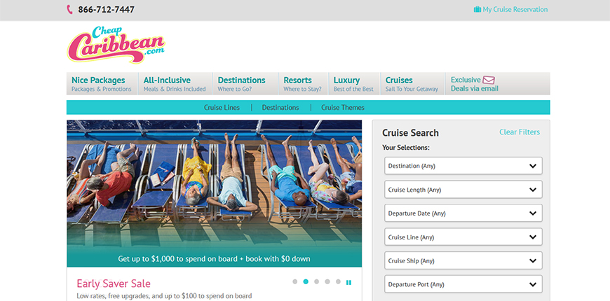 cheapcaribbean cruise booking screenshot