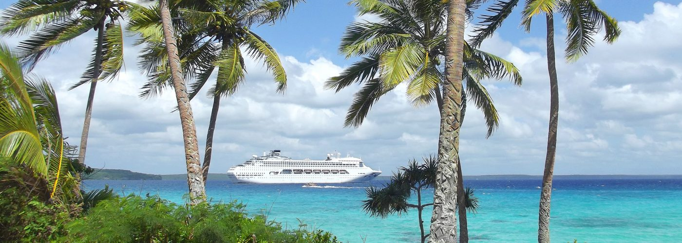 cruise ship in pacific islands