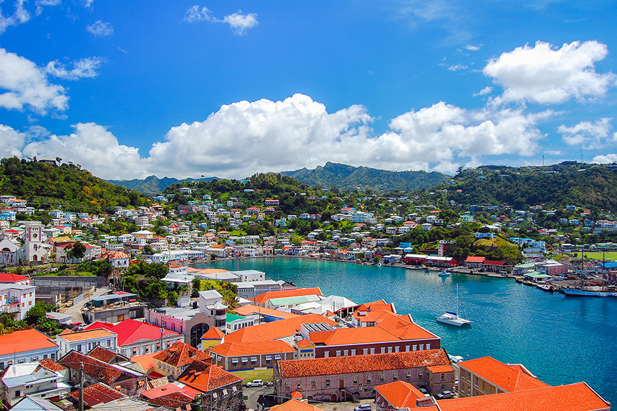 View of saint george's town, capital grenada island, caribbean region lesser antilles