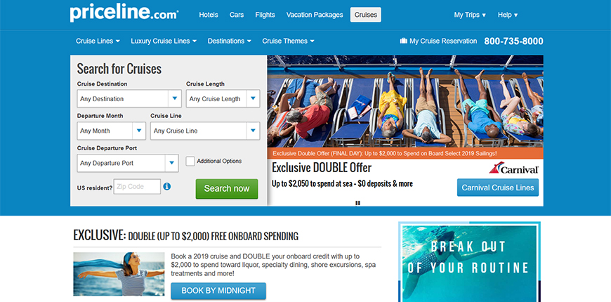 priceline cruise booking screenshot