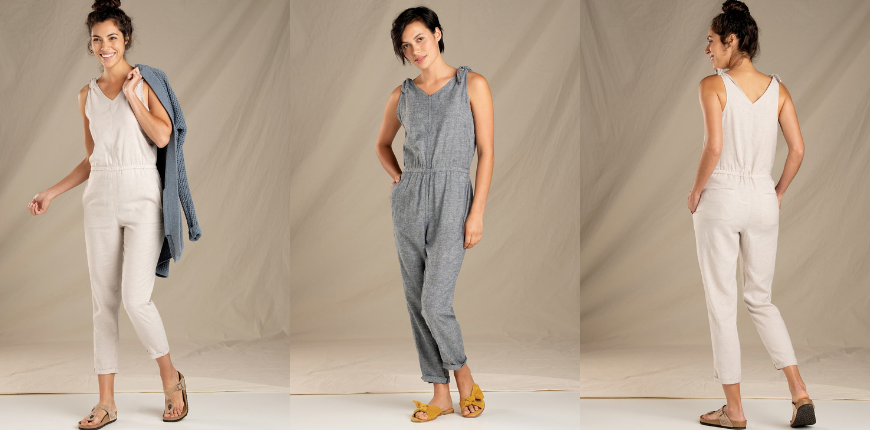toad & co tara hemp sleeveless jumpsuit.
