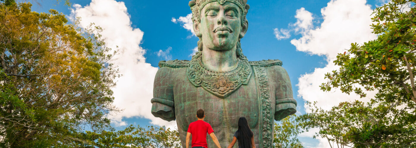 Statue in Bali, which for a fall vacation is one of the cheapest places to fly.