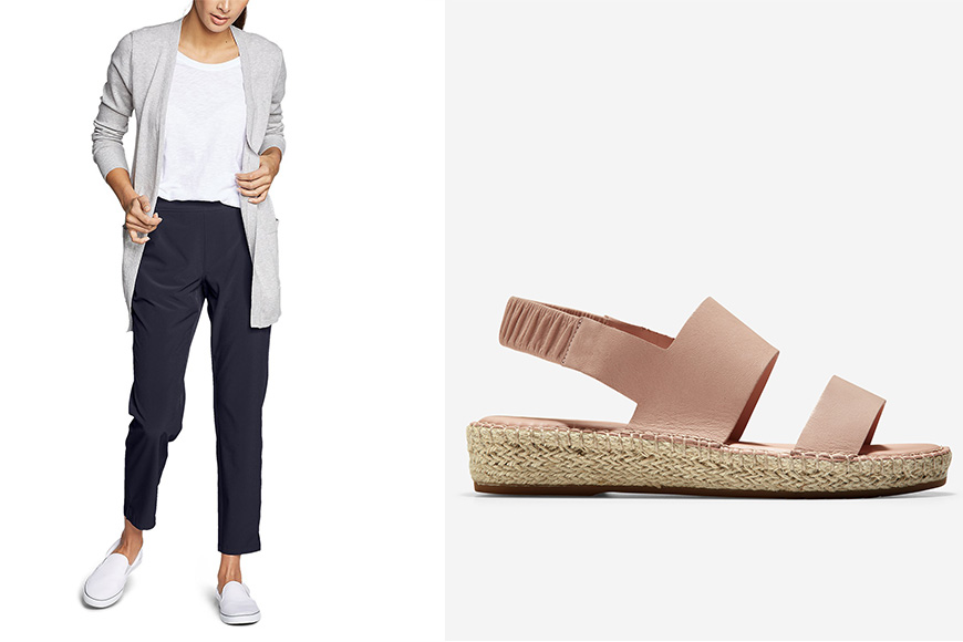 Eddie bauer outfit and cole haan cloudfeel espadrille shoe what to pack for china.