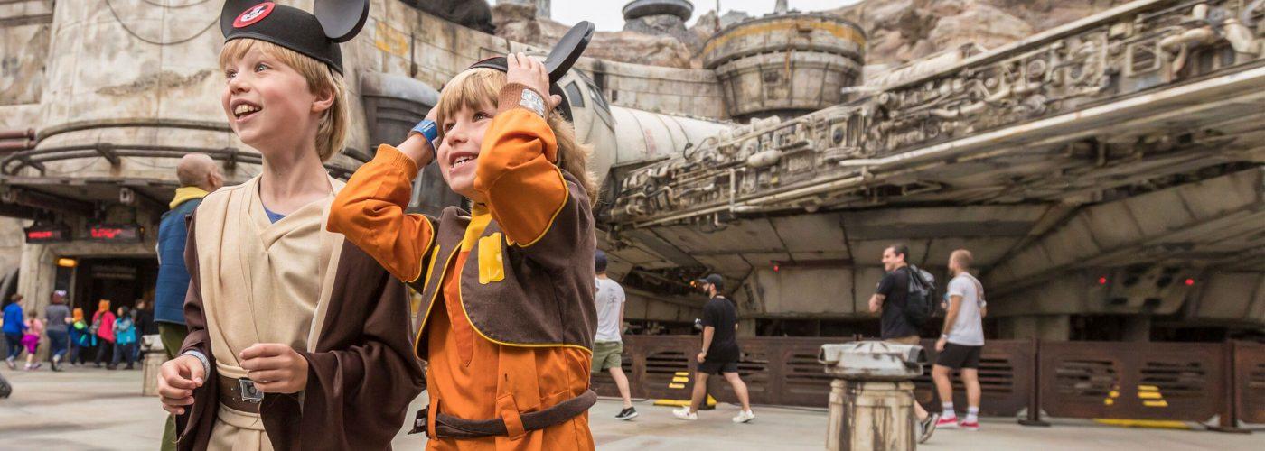 Two children at Star Wars Galaxy's Edge at Disneyland