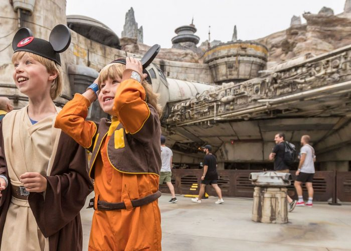 Two children at Star Wars Galaxy's Edge at Disneyland