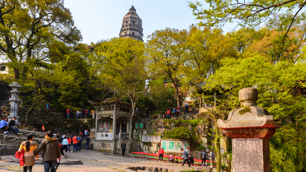 Tiger hill leaning pagoda, called the tower of china, in suzhou.