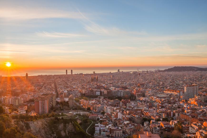 Barcelona, spain buildings at sunset.