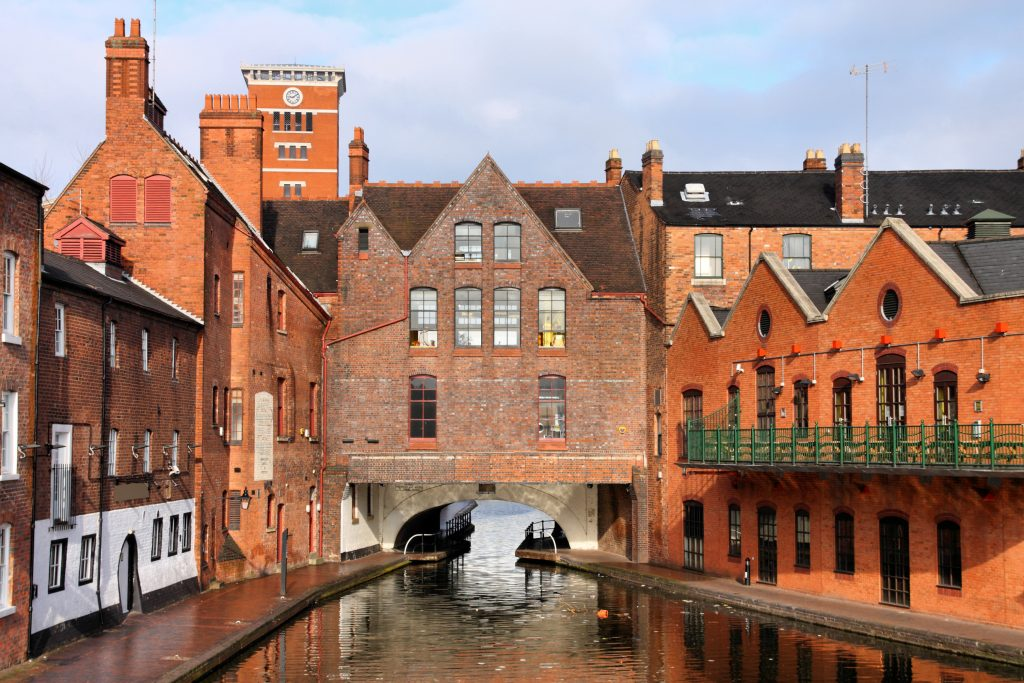 brick buildings surrounding birmingham canals.