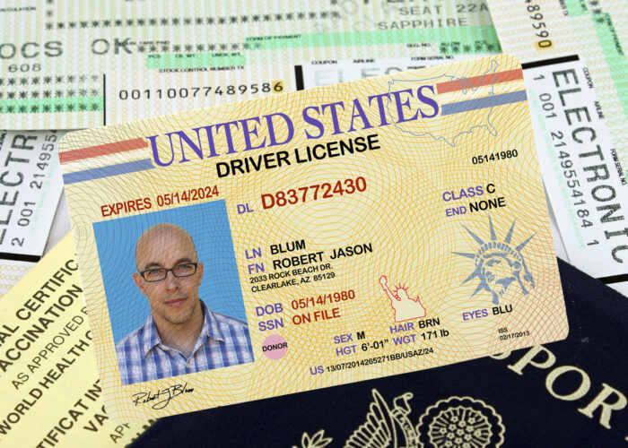 drivers license passport and boarding documents