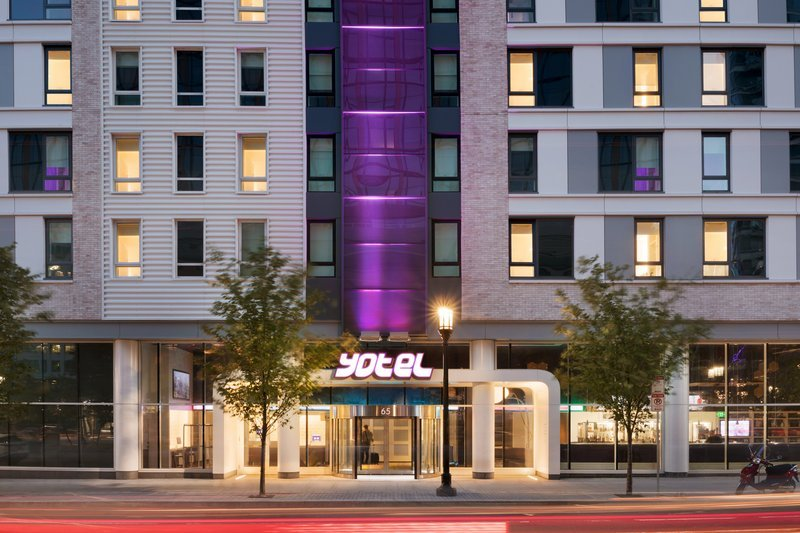 exterior view of hotel yotel in boston seaport neighborhood
