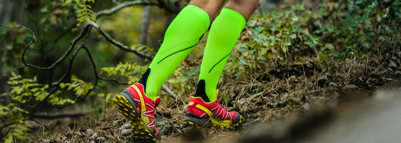 hiker wearing compression socks.