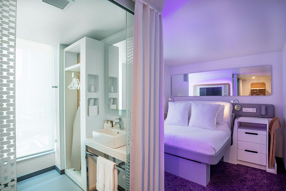 interior view of hotel room in boston yotel