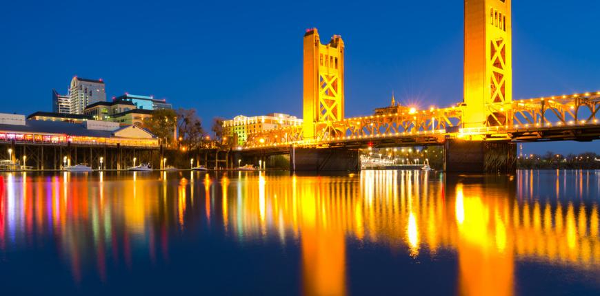 Sacramento, california bridge at night.