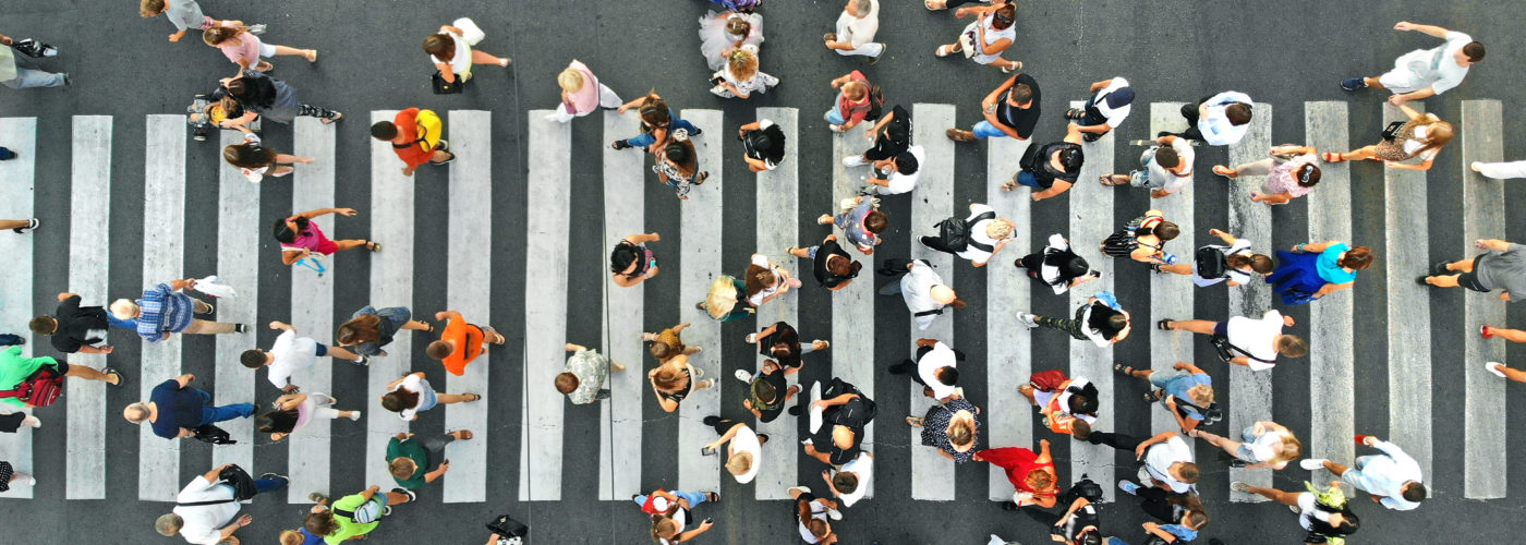 Aerial view of pedestrians in a crosswalk