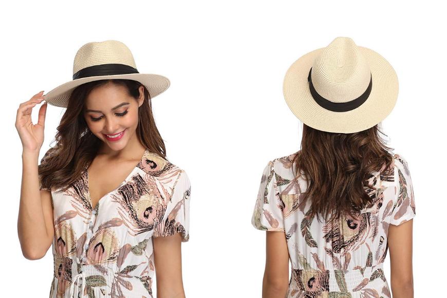 Amazon lanzom straw panama roll-up hat.