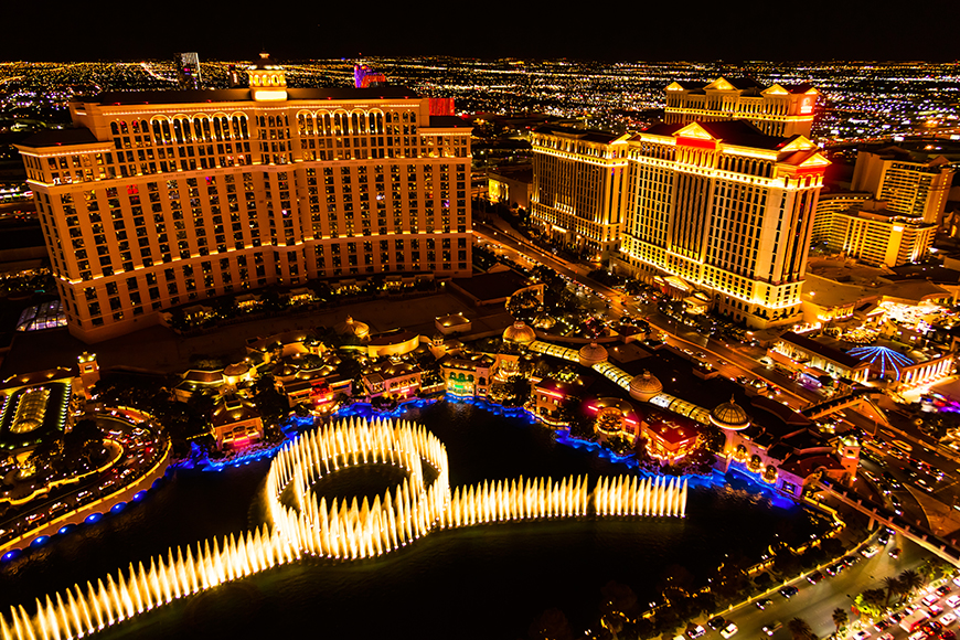 aerial view of las vegas fountains.