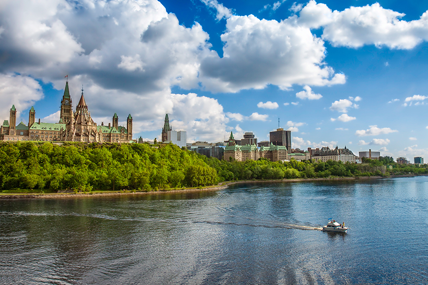 ottawa parliament buildings overlooking the river.